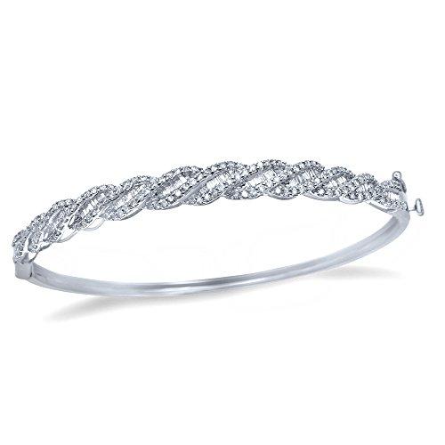 Womens New 1.15 Ctw Genuine Real Diamond Bangle Bracelet 925 Sterling (Omega Bangle)