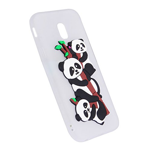 Funda Galaxy J3 2017, E-Lush para Samsung Galaxy J3 2017 Silicona TPU Durable Carcasa Ultra Bonita Suave 3D Kawaii Animales Panda Gel Anti-Rasguño Goma Flexible Protectiva Cubrir Case Cover para E-Lus Blanco