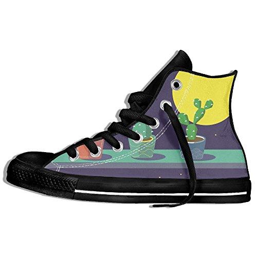 Classiche Sneakers Alte Scarpe Di Tela Anti-skid Cactus Moon Casual Da Passeggio Per Uomo Donna Nero