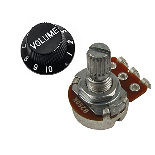 (Guitar & Amp Potentiometer Mini Pots, 500K 250K Audio Linear Knurled Split Shaft Fits for Fender Squire Strat guitars (B250k Linear Volume Control))