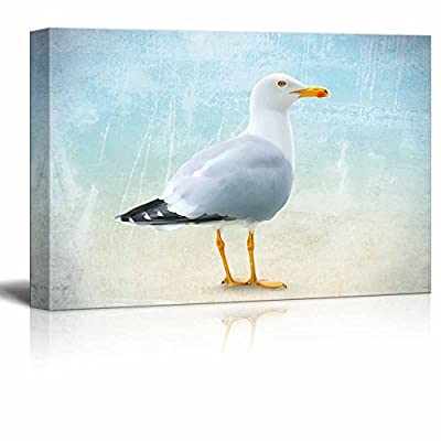Canvas Wall Art - Seagull on Abstract Seascape Background - Gallery Wrap Modern Home Art | Ready to Hang - 12x18 inches