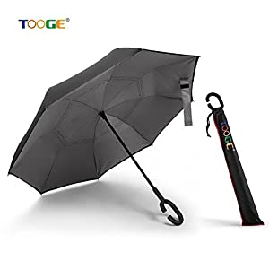 Inverted Umbrella by Tooge, Cars Reverse Umbrella for Wind and Rain Protection-Double Layer and Self-Standing, with C-Shaped Handle and Umbrella Cap (Grey)