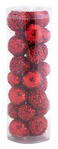 Glittered Ball - Pack of 25 Red Glittered and Sequined Decorative Christmas Balls