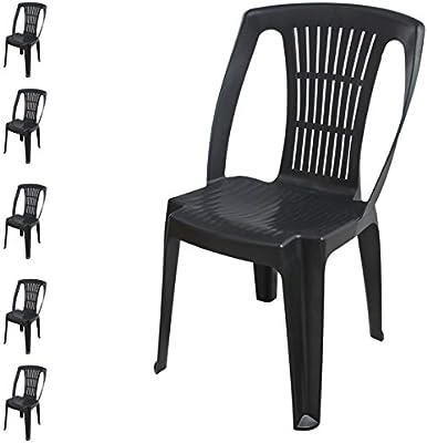 FineHome - Juego de 6 sillas apilables para jardín (plástico), Color Antracita: Amazon.es: Jardín