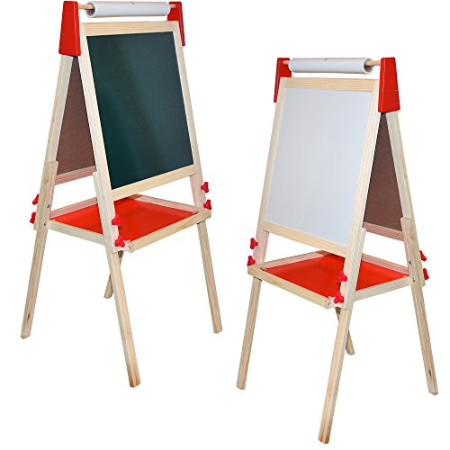 Deluxe Standing Art Easel - Dry-Erase Board, Chalkboard, Paper Roller,Magnetic Whiteboard, Includes Paper Roll, and Accessories,The Ultimate All-in-One Wooden Kid's Art Easel, Young Artist - Kids Easel Artists