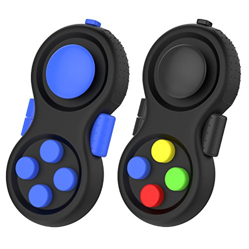 Fidget Controller Pad, ATiC [2 Pack] Stress Reducer Classic Game Pad Anti-anxiety Focus Hand Shank Toy for ADD, ADHD, Autism Kids and Adults Killing Time, Colorful/Black + Blue/Black