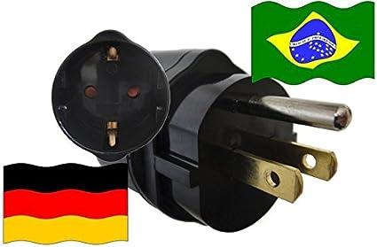 Adaptador de Viaje Enchufe con Contacto de Protección para Brasil / Alemania (BR-GER): Amazon.es: Iluminación