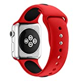 Vteyes Apple Watch Band, Soft Silicone Sport Straps Replacement Wristband Bracelet Watchband for Apple Watch, Series 2, Series 1 (Red & Black, 42mm)