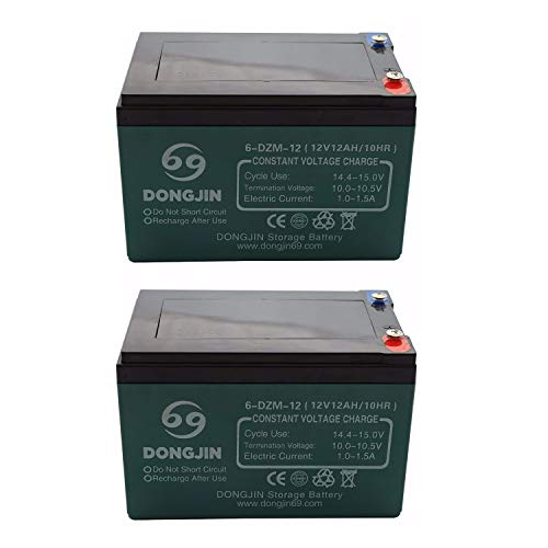 TDPRO 2pcs 6-DZM-12 12V 12Ah Rechargeable Battery for Electric Bike Scooter Go Kart