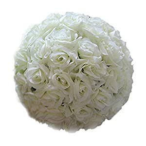 Bluelans 8 Inch Artificial Flowers Silk Rose Ball Hanging Wedding Party Home Decoration Centerpiece 47