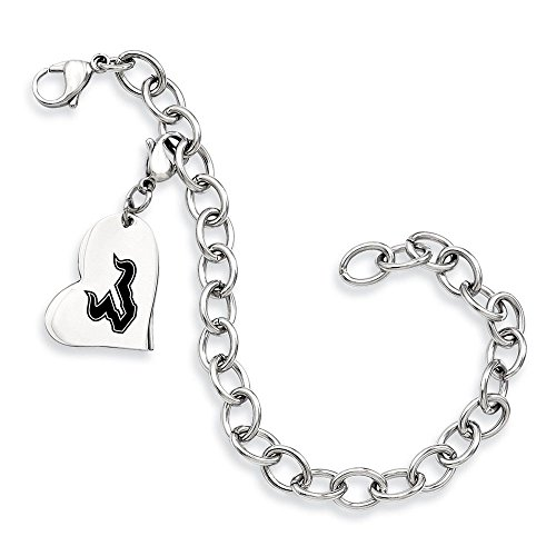 South Florida Bulls Stainless Steel Heart Bracelet