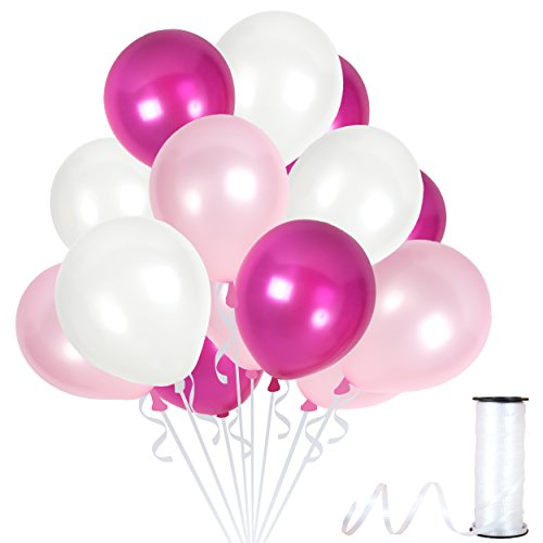 100 Pieces of 12-Inch Thick Latex Balloons | Shiny Assorted Pink and Ivory White Metallic Balloons with a Pearl Finish and 65 Yards of Crimped Curling Ribbon | Party Decorations for Any Occasion (Gold Leaf Pearlized)