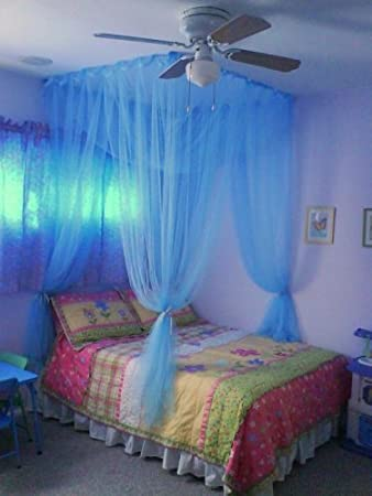 4 Poster / Four Corner Teal Blue Bed Canopy Mosquito Net Full Queen King & Amazon.com: 4 Poster / Four Corner Teal Blue Bed Canopy Mosquito ...