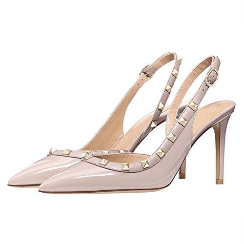 EKS Damenmode mit 10cm Sandalen Nieten Aprikose und Kegelabsätze rrCPqxw