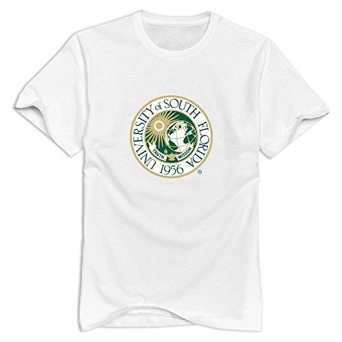 JJTD Men's University Of South Florida Seal T-Shirt White US Size L - University Florida Seal