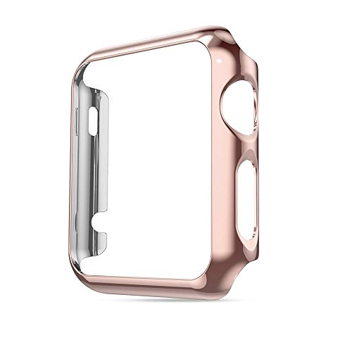 Apple Watch Case 42 mm Series 1, Honest kin Thin Pc Plated Plating Protective Bumper Case with Built in Screen Protector Glass for Apple Watch 42mm 2015 - Rose Gold (Diamond Crystal Protector)