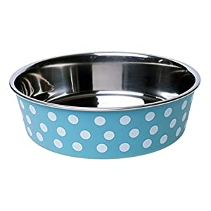 Petface 31044DS1 Bella Stainless Steel Food or Water Bowl for Dogs, Turquoise/White, Medium Click on image for further info.