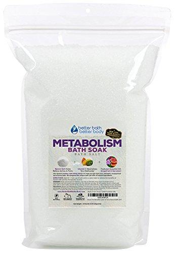 Metabolism Bath Salt 128oz (8-Lbs) - Epsom Salt With Grapefruit & Geranium Essential Oil & Vitamin C - Promotes Healthy Lifestyle & Metabolism - All Natural Bath Soak