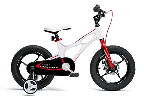 RRoyalBaby Space Shuttle Lightweight Magnesium Kid's Bike with Disc Brakes for Boys and Girls, 14 inch with Training Wheels, White