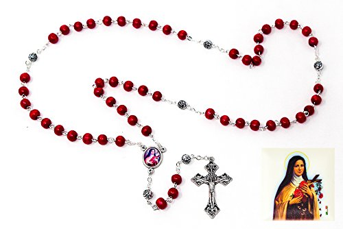 Ave Maria St Theresa Rosary Beads with Red Wooden Beads, Crucifix and a St Theresa Junction Medal Rosary Box & Lourdes Prayer ()