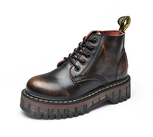 Schnüren Honeystore Chelsea Leder Damen Braun Boots Freizeitschuhe Flache Stiefeletten Boots Klassischer Stiefel rBrzTUHtq