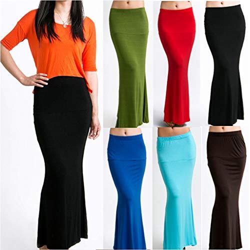 Taille Femme's Jupe Bleu Solid Décontracté Haute Knee Length Hip N8ymnwOv0
