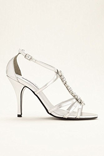 Silver by Strappy Touch Vanessa Style Vanessa UPS Sandal Bridal Davids vB6zqRx