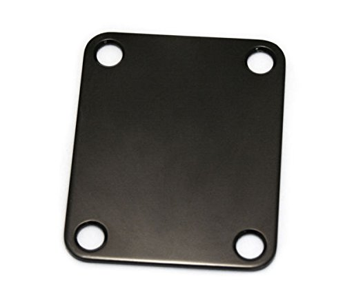 Greenten Black 4 Bolt Neck Plate Plain,Neckplate with Screws for FD Strat Tele Basses