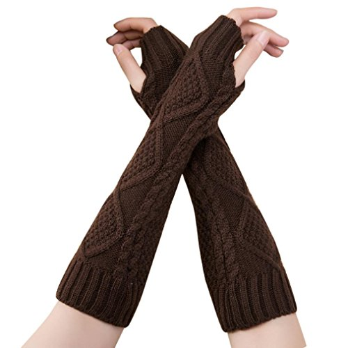 Hot Sale! Clearance!Todaies Fashion Unisex Semi-Long Gloves Knitted Fingerless Winter Gloves Soft Mitten (Size:329cm, Coffee) (Today Sale)