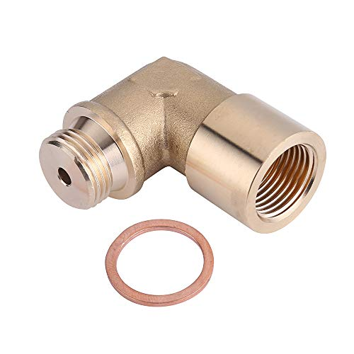 90 Degree Angled Universal O2 Oxygen Sensor Spacer Adapter Extender for Exhaust Systems with M18 x 1.5 Sensor Holes (Brass)