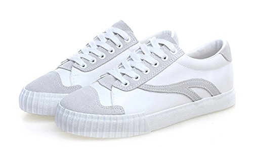 Aisun Women's Comfy Breathable Round Toe Low Tops Platform Flats Lace Up Sneakers Skateboard Shoes White zXJTjeDHz