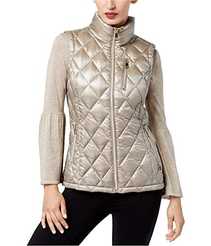 Calvin Klein Womens Metallic Quilted Vest, Beige, Large ()