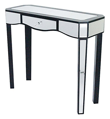 Cheap Heather Ann Creations W192151-BLK 30.7″ Black Elizabeth Collection Console Living Room Office Writing Table with Drawer and Mirror Accents