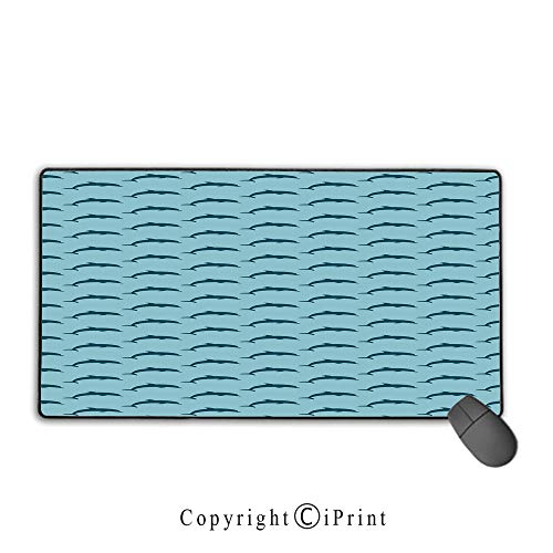 Office and home waterproof coated mouse pad,Dolphin,Ocean Fauna Collection Dolphin Silhouette with Blue Color Scheme Abstract,Pale Blue Dark Blue,Ideal for Desk Cover, Computer Keyboard, PC and Laptop