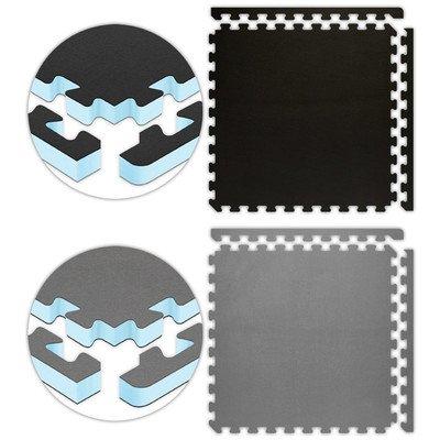 Jumbo Reversible SoftFloors 2′ x 2′ x 1″ 14′ x 16′ Set Black/Grey