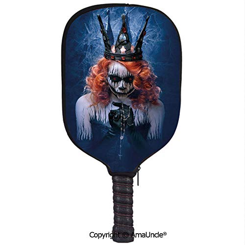 SCOXIXI Neoprene Sports Pickleball Paddle Cover Sleeve,Personalized Queen of Death Scary Body Art Halloween Evil Face Bizarre Make Up ZombieRacquet Cover,Lightweight,Durable and Portable]()