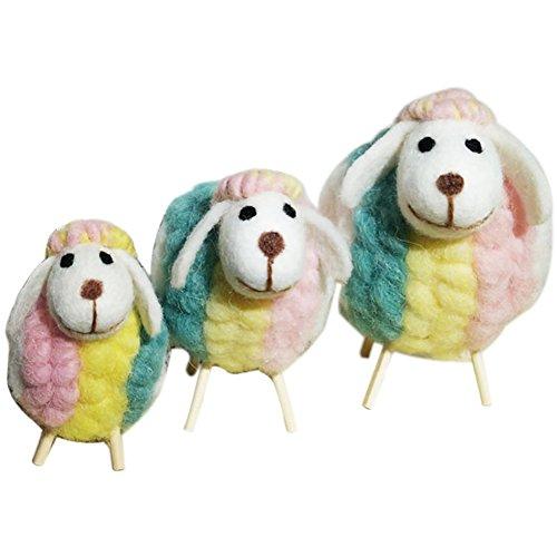 TINTON LIFE Handicrafts Sheep with Baby Lamb Wool Felt Sheep Family Toys Decorative Ornaments Plush Doll Desktop Ground (Rainbow Set) (Ornaments Lamb)