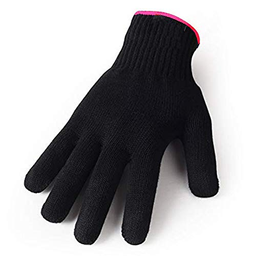 (Heat Resistant Gloves for Hair Styling, Curling Iron, Flat Iron and Curling Wand, Black, Pink Edge, 1 Pack)