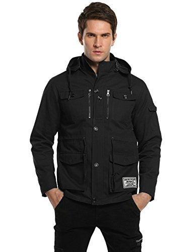 Men's Cotton Military Windbreaker Jacket with Removable Hood