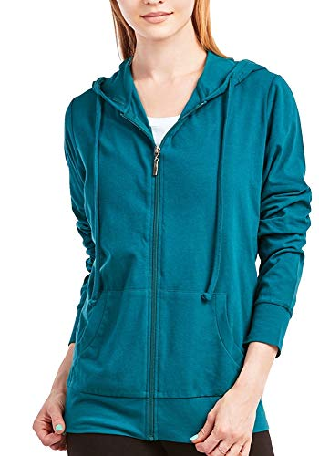 ClothingAve. Womens Basic Lightweight Cotton Blend Long Sleeve Zip Up Hoodie Jacket - Teal/Large