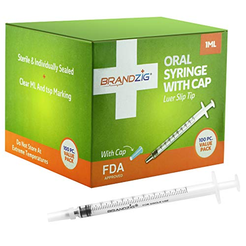 1ml Oral Syringe with Cap (100 Pack) | Oral Dispenser Without Needle, Luer Slip Tip, FDA Approved | Individually Wrapped Medicine Dropper for Infants & Pets