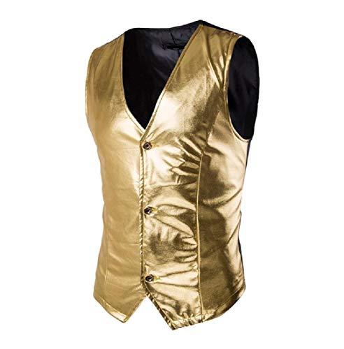 DUOOPY Men 's Show Chaleco de Lentejuelas Realizar Club otoño/Invierno Camiseta Tank Top Golden S