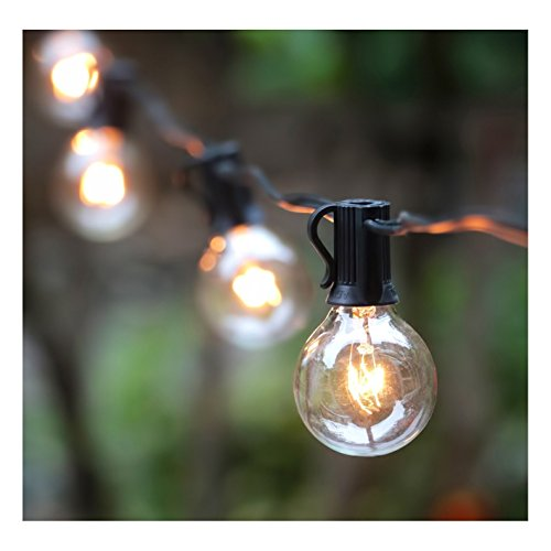 50Ft G40 Globe String Lights with Clear Bulbs, UL listed Backyard Patio Lights, Hanging Indoor/Outdoor String Light for Bistro Pergola Deckyard Tents Market Cafe Gazebo Porch Letters Party Decor, Black Wire