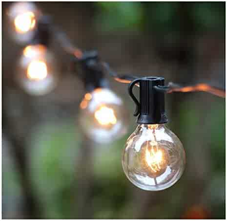 50Ft G40 Globe String Lights with Clear Bulbs for Indoor/Outdoor Commercial Decor, Outdoor String Lights for Patio Backyard Pergola Market Cafe Bistro Garden Porch Pool Umbrella Tents Decks, Black