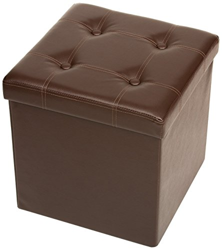 (Fresh Home Elements Tufted Storage Ottoman, Folding Collapsible Space Saving Design, Rich Faux Leather,)