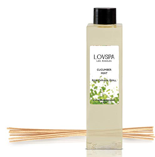 - LOVSPA Cucumber Mint Reed Diffuser Oil Refill with Replacement Reed Sticks | Refreshing Fragrance of Garden-Fresh Cucumber, Cyclamen Blossoms & Cool Spearmint, 4 oz | Made in The USA