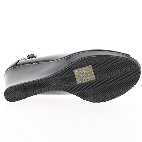 y zapato barnizado 5 negro de con 8 a tacón cm brida Offset Tq6pfwR