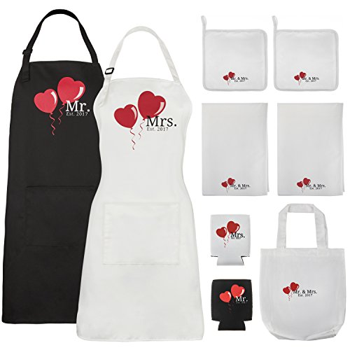 Mr. and Mrs. Aprons Est. 2017 with Heart Wedding Gift Set for Bride Groom Couples