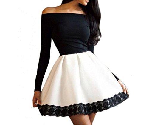 EMIN Damen Sommer Kleid Spitze Strandkleid Kleid Elegant Cocktailkleid Partykleid Abendkleid