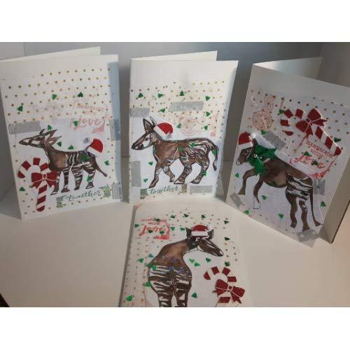 Christmas Cards Handmade.Amazon Com Handmade Christmas Cards Set Of Four Okapi
